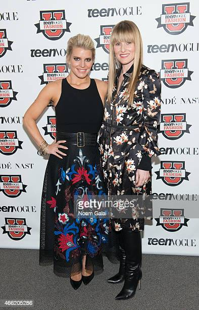 Singer Jessica Simpson and editorinchief of Teen Vogue Amy Astley attend Teen Vogue's 10th Annual Fashion University at Conde Nast on March 14 2015...