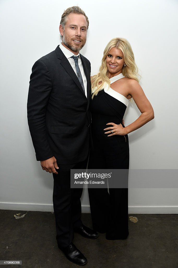 Singer Jessica Simpson and her husband Eric Johnson attend a special preview of 'The Gleason Project' at ZEFR Warehouse on April 23, 2015 in Venice, California.