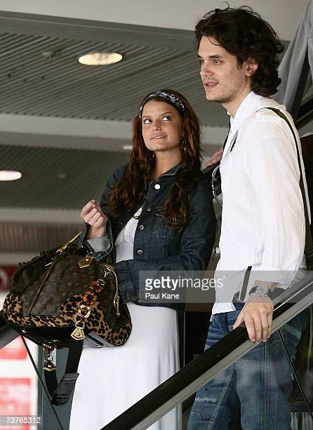 Singer Jessica Simpson and musician John Mayer are seen leaving Perth Airport on April 2 2007 in Perth Australia