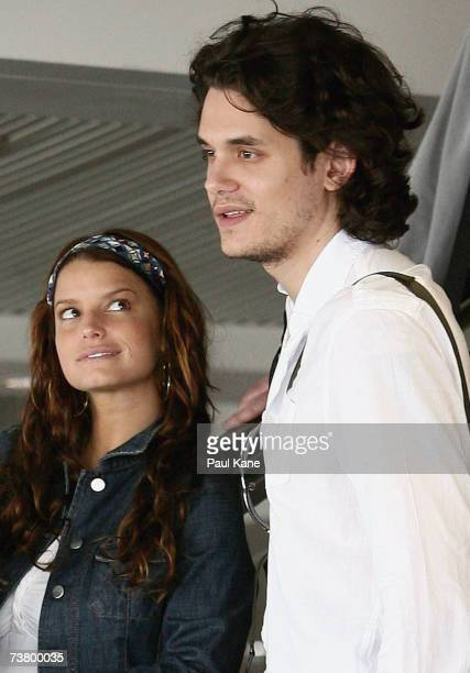 Singer Jessica Simpson and musician John Mayer are seen leaving Perth Airport on April 2, 2007 in Perth, Australia.