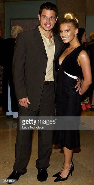 Singer Jessica Simpson and Nick Lachey attend the 2003 Operation Smile West Coast gala on September 24, 2003 in Beverly Hills, California.