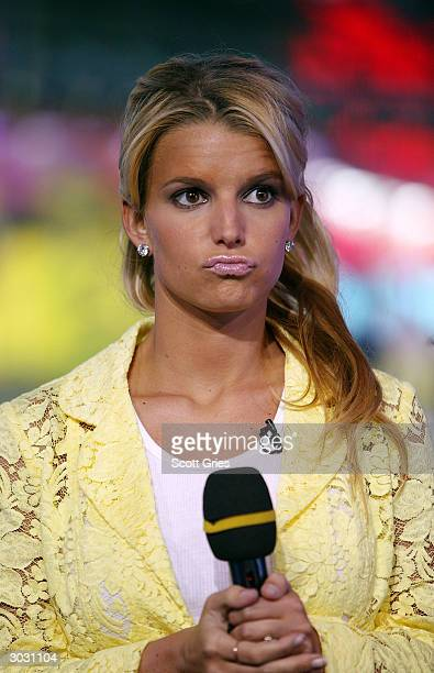 Singer Jessica Simpson appears on stage during MTV's Total Request Live at the MTV Times Square Studios March 1 2004 in New York City