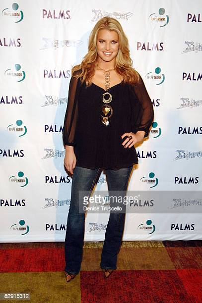 Singer Jessica Simpson arrives at a pre-concert party to benefit the Rape Crisis Center at Moon at The Palms Resort and Casino on September 18, 2008...