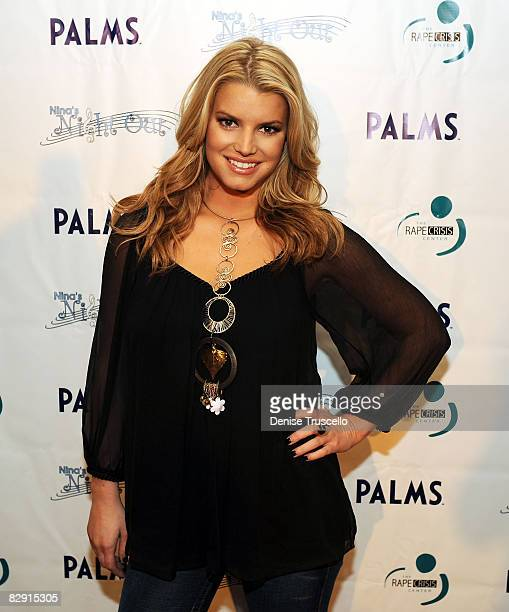 Singer Jessica Simpson arrives at her pre-concert party to benefit the Rape Crisis Center at Moon at The Palms Resort and Casino on September 18,...