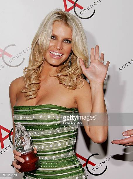 Singer Jessica Simpson is honored with the 'Fashion Icon' award at The Accessories Council 9th Annual ACE Awards gala at Cipriani's 42nd Street...