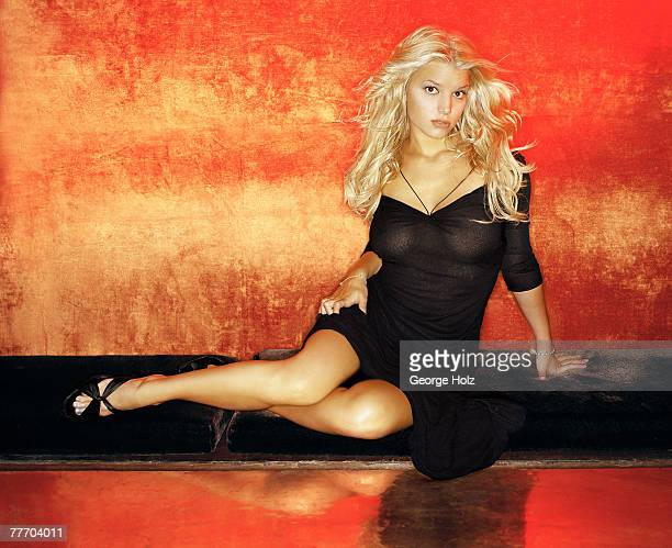 Singer Jessica Simpson is photographed for FHM Magazine on July 19 2000 in New York City PUBLISHED IMAGE