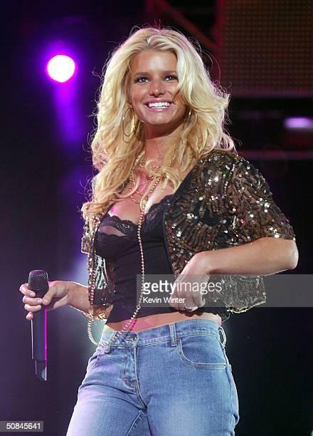 Singer Jessica Simpson performs at 1027 KIISFM's Wango Tango OnAir 2004 at the Rose Bowl May 15 2004 in Pasadena California