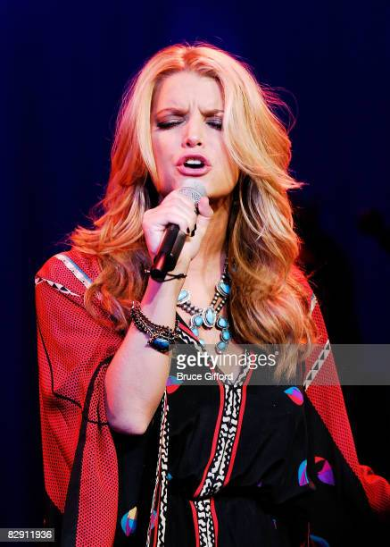 Singer Jessica Simpson performs at 5th Annual Nina's Night Out at Pearl inside Palms Casino on September 18 2008 in Las Vegas Nevada