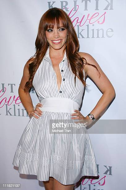 Singer Jessica Sutta arrives at the Kritik Clothing by Jonathan Cheban Launch Party held at the Lisa Kline store on April 10 2008 in Beverly Hills...