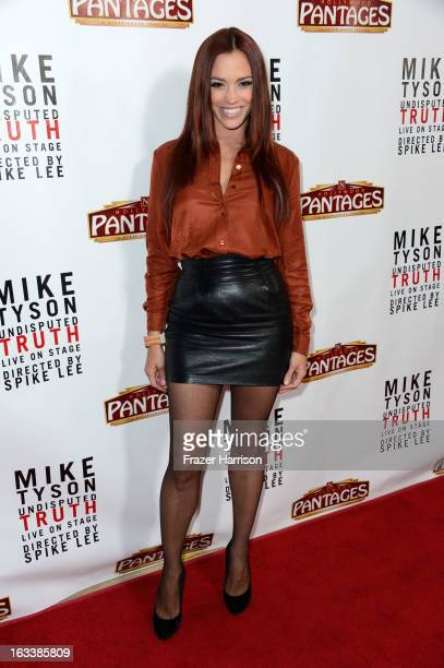 Singer Jessica Sutta arrives at the opening Night Of 'Mike Tyson Undisputed Truth' At The Pantages Theatre at the Pantages Theatre on March 8 2013 in...