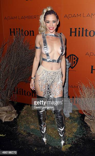 Singer Jessica Sutta attends Adam Lambert's Ghost Town Halloween party hosted by Hilton@PLAY at The Beverly Hilton Hotel on October 31 2015 in...