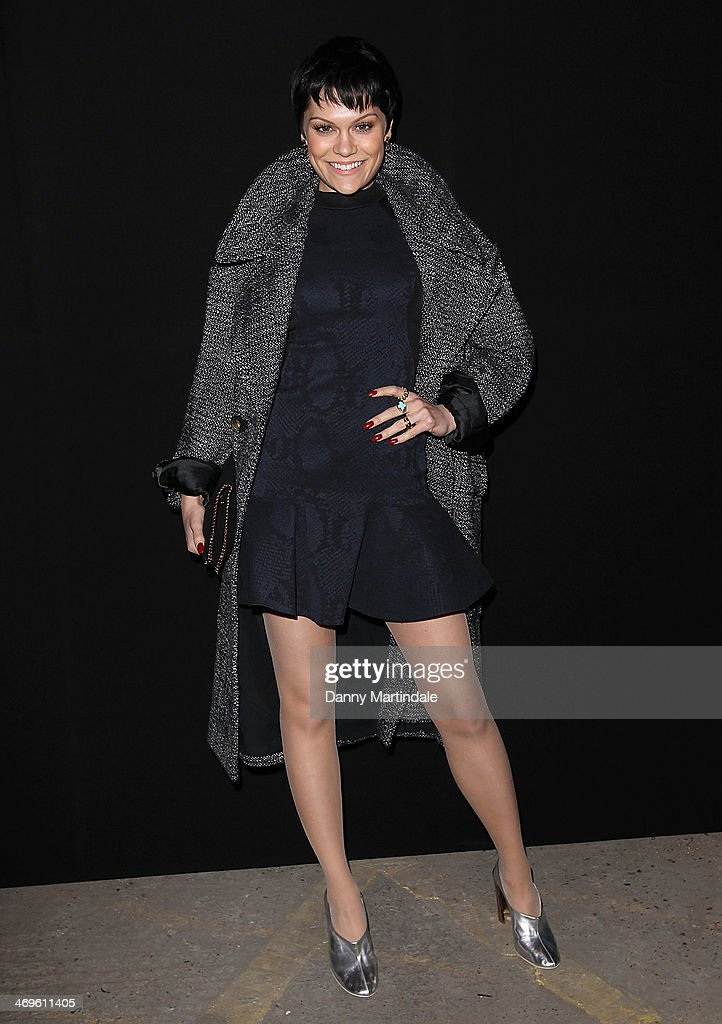 Singer Jessie J attends the Hunter Original show at London Fashion Week AW14 at on February 15, 2014 in London, England.