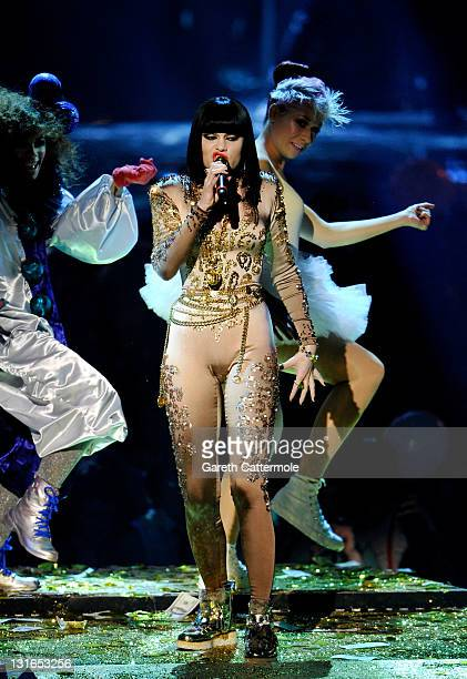 Singer Jessie J performs onstage during the MTV Europe Music Awards 2011 live show at the Odyssey Arena on November 6 2011 in Belfast Northern Ireland