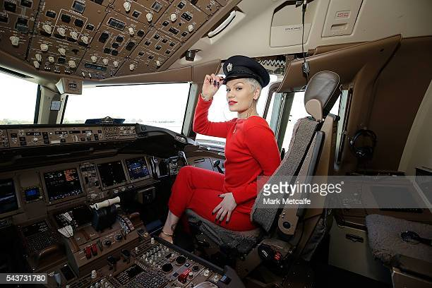 Singer Jessie J poses in the cockpit of a British Airways 777300 on June 30 2016 in Sydney AustraliaThe singersongwriter played an acoustic set for...