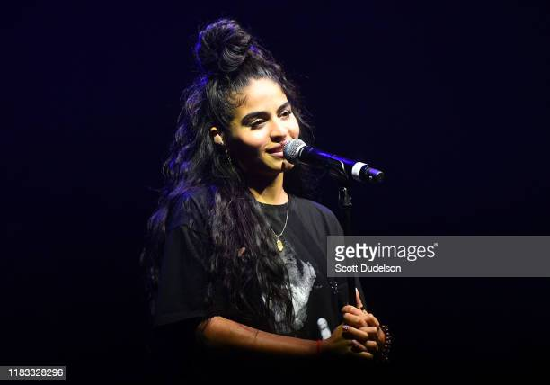 Singer Jessie Reyez performs onstage at The Wiltern on October 24 2019 in Los Angeles California