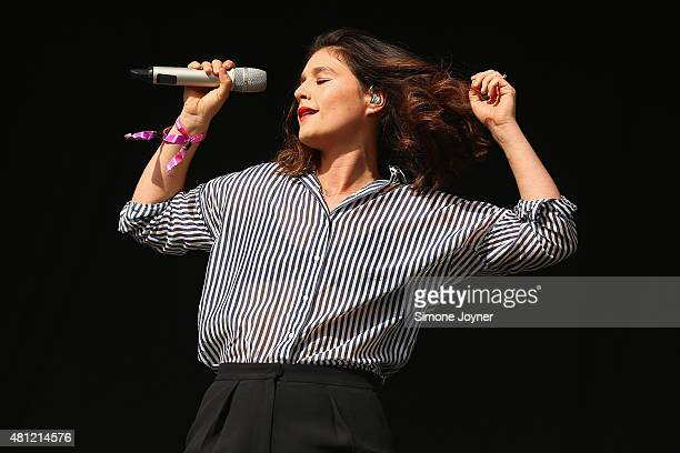 Singer Jessie Ware performs live on the Main Stage during day two of Lovebox Festival 2015 at Victoria Park on July 18 2015 in London England