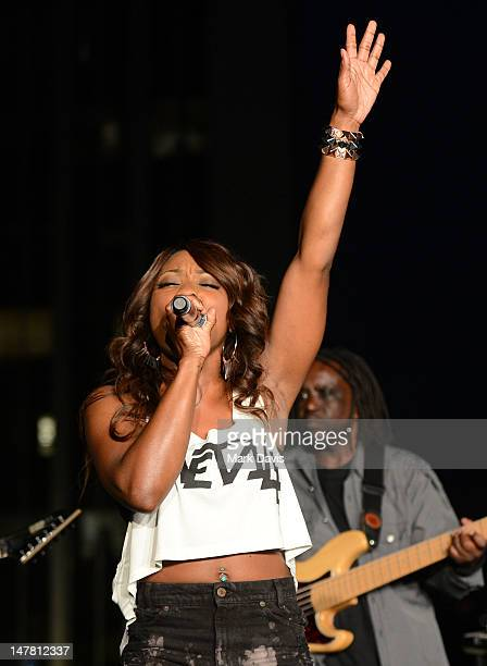 Singer Jessyca Wilson performs at the 2012 BET Music Matters Showcase held at Creative Artists Agency on July 2 2012 in Los Angeles California