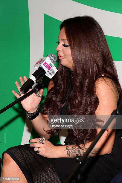 Singer Jesy Nelson of British girl group Little Mix performs in the 1035 KISS FM Sprite Lounge in Chicago Illinois on MARCH 14 2014