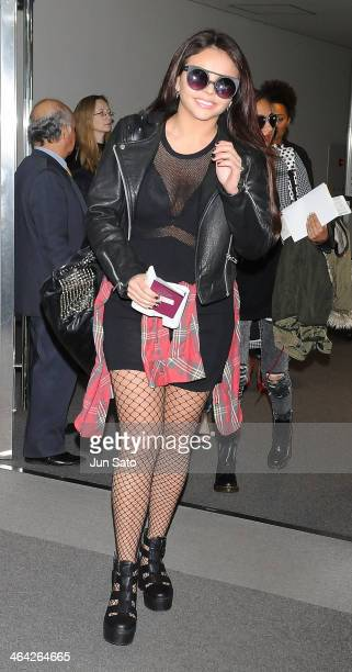 Singer Jesy Nelson of Little Mix arrive at Narita International Airport on January 22 2014 in Narita Japan