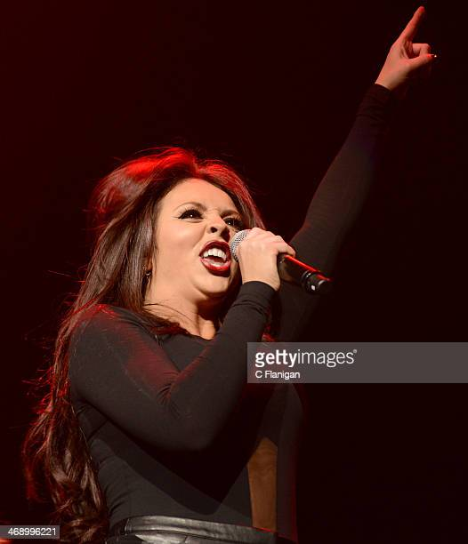 Singer Jesy Nelson of Little Mix performs during the Demi Lovato Neon Lights Tour at SAP Center on February 11 2014 in San Jose California