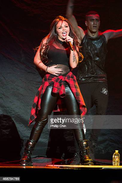 Singer Jesy Nelson of Little Mix performs in the opening act for Demi Lovato's first concert of The Neon Lights Tour at Rogers Arena on February 9...