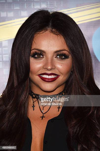 Singer Jesy Nelson of the girl band Little Mix poses before performing onstage and signing copies of their album at the Hard Rock Cafe Hollywood CA...