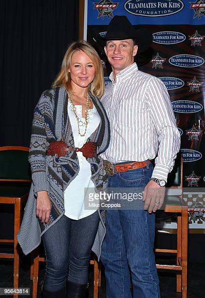 Singer Jewel with husband and professional bull rider Ty Murray attend the PBR Garth Brooks Teammates For Kids Foundation press conference at Madison...