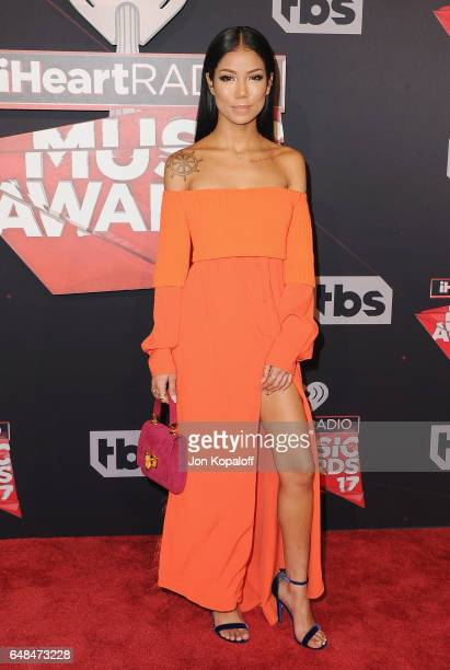 Singer Jhene Aiko arrives at the 2017 iHeartRadio Music Awards at The Forum on March 5 2017 in Inglewood California