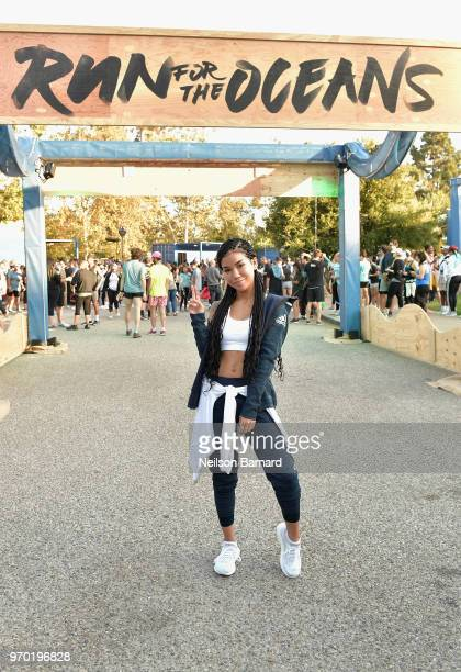 Singer Jhene Aiko attends adidas x Parley 'Run For The Oceans' event harnessing the power of sport and continued fight against the threat of marine...
