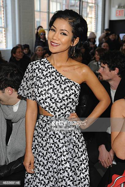 Singer Jhene Aiko attends the Tanya Taylor fashion show at Industria Studios during MercedesBenz Fashion Week on February 13 2015 in New York City