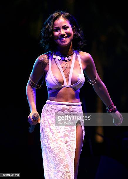 Singer Jhene Aiko performs onstage during day 3 of the 2014 Coachella Valley Music Arts Festival at the Empire Polo Club on April 20 2014 in Indio...