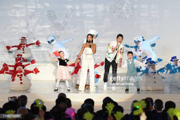 Singer Jike Junyi and singer Sun Nan perform during the 1000-day Countdown to the Opening Ceremony of the Beijing 2022 Olympic Winter Games on May...
