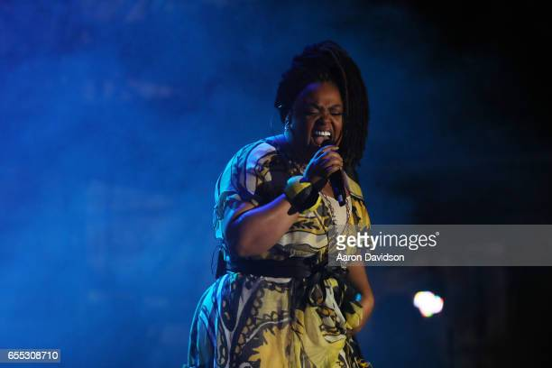 Singer Jill Scott performs on stage at The 12th Annual Jazz In The Gardens Music Festival Day 1 at Hard Rock Stadium on March 18 2017 in Miami...