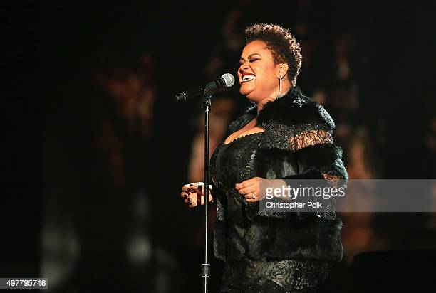 Singer Jill Scott performs onstage at AE Networks Shining A Light concert at The Shrine Auditorium on November 18 2015 in Los Angeles California