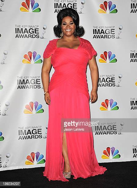 Singer Jill Scott poses in the press room at the 43rd annual NAACP Image Awards at The Shrine Auditorium on February 17 2012 in Los Angeles California