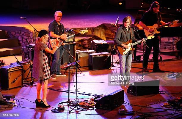 Singer Jill Sobule and rock musician Jackson Browne perform at the Jail Guitar Doors AllStar Fundraising Concert at Ford Theatre on September 5 2014...