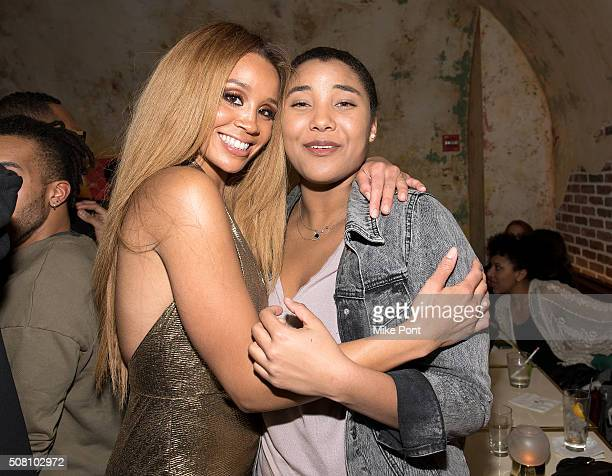 Singer Jillian Hervey and Sasha Gabriella Fox attend the Lion Babe Begin Listening Party at The Roxy Hotel on February 2 2016 in New York City