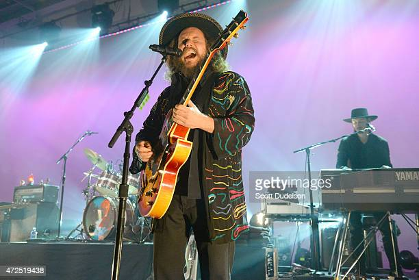 Singer Jim James and keyboard player Bo Koster of My Morning Jacket perform onstage during a 'KCRW Presents' session at Mack Sennett Studios on May 7...