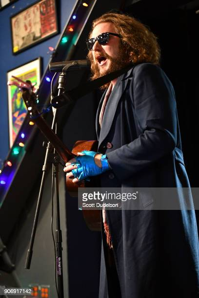 Singer Jim James of My Morning Jacket performs an acoustic set in support of his solo album 'Tribute to 2' at Amoeba Music on January 18 2018 in...