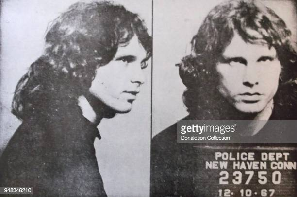 Singer Jim Morrison of the rock and roll band The Doors' mugshot on December 10 1967 in New Haven Connecticut