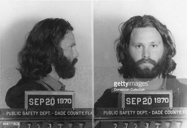 Singer Jim Morrison of the rock and roll band The Doors' mugshot on September 20 1970 in Dade County Florida