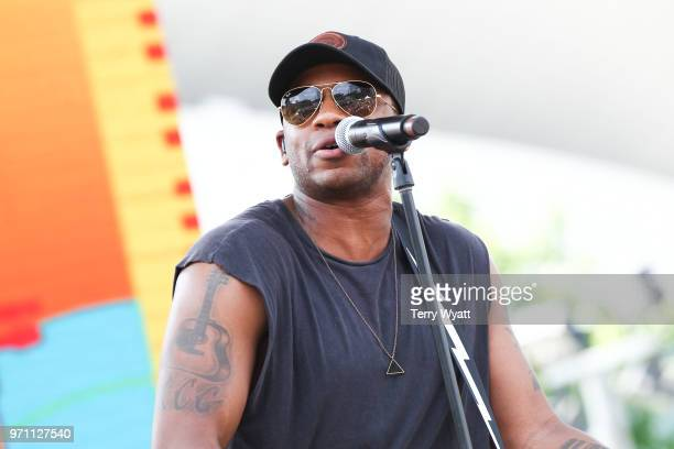 Singer Jimmie Allen performs during the 2018 CMA Music festival on June 10 2018 in Nashville Tennessee