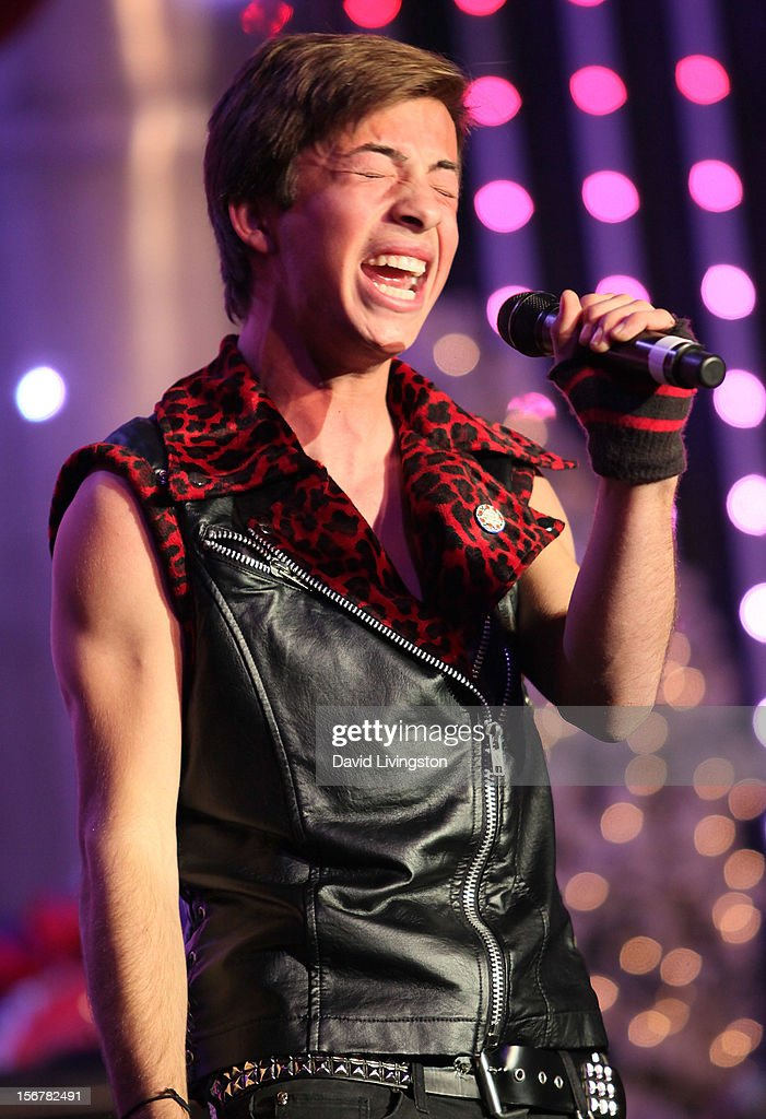 Singer Jimmy Bennett performs on stage at Associated Television International's 2012 Hollywood Christmas Parade Concert at Universal CityWalk's 5 Towers on November 20, 2012 in Universal City, California.
