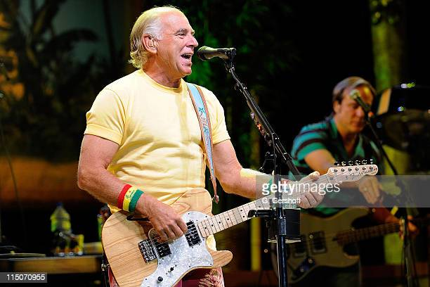 Singer Jimmy Buffett performs live on stage at Jones Beach Theater on August 27 2008 in Wantagh New York
