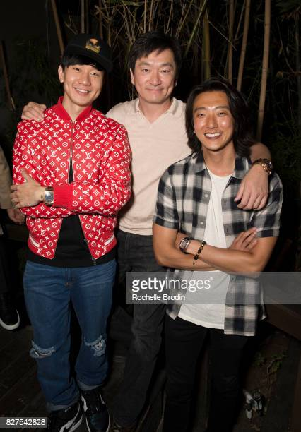 Singer JJ Lin Founder of Purist Group Sean Lee and actor Harry Chang attend the Haute Living Celebrates Kate Mara with Westime event on August 7 2017...
