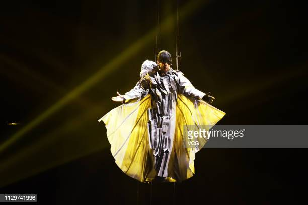 Singer JJ Lin performs on the stage in concert at Taipei Arena on February 14 2019 in Taipei Taiwan of China