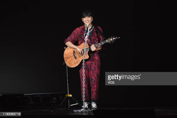 Singer JJ Lin performs onstage during his Sanctuary World Tour Concert at Taipei Arena on February 15 2019 in Taipei Taiwan of China