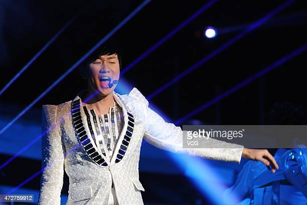 Singer JJ Lin sings on the stage during his personal concert at MasterCard Center on May 9 2015 in Beijing China