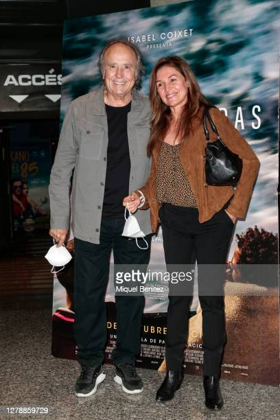 Singer Joan Manuel Serrat and Candela Tiffon pose for a photocall during the premiere of 'Cartas Mojadas', 'Drowning Letters' at Boliche Cinemas on...
