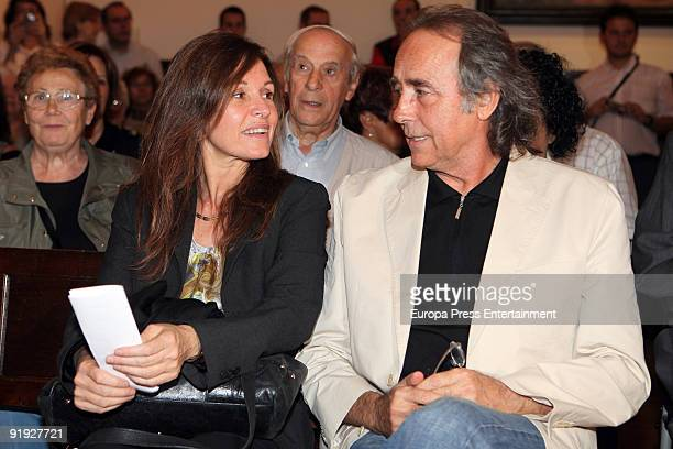 Singer Joan Manuel Serrat speaks with Candela Tiffon as he receives the Golden Medal Award from the city of Esplugues de Llobregat at the Esplugues...